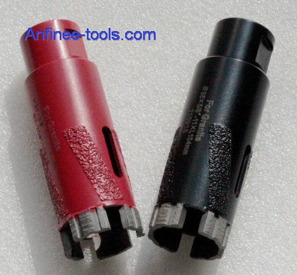 Brazing core drill bit for dry use